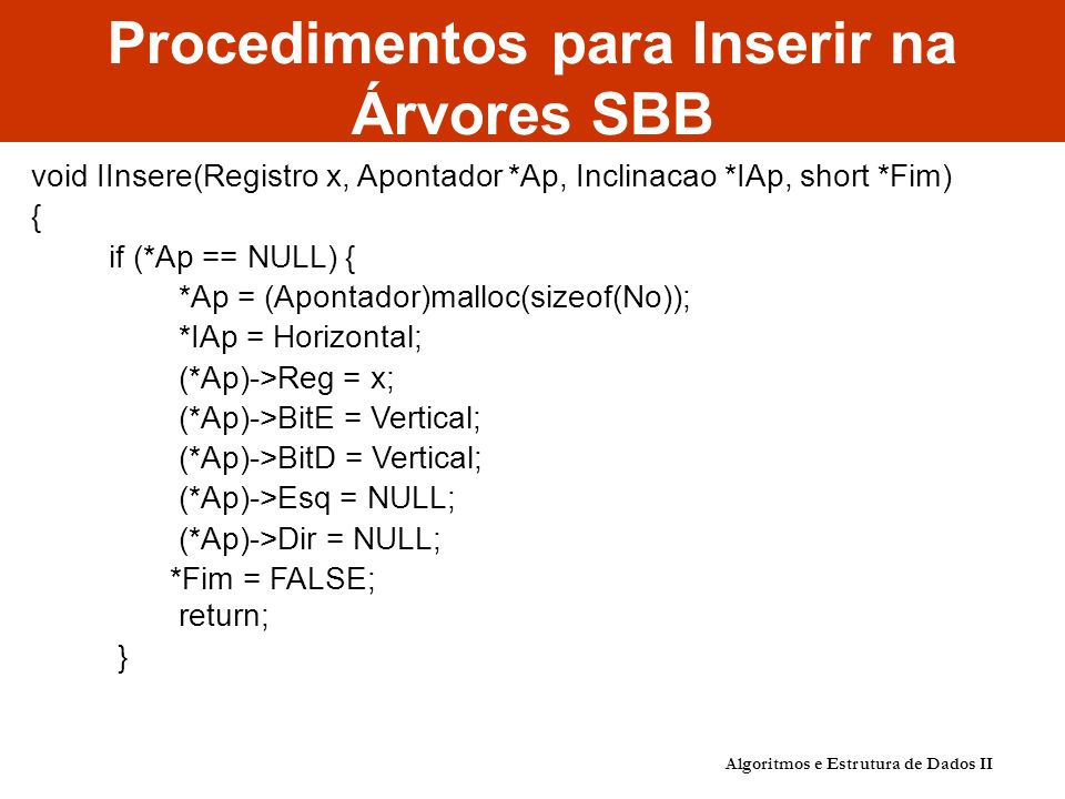 Algoritmos e Estrutura de Dados II Procedimentos para Inserir na Árvores SBB void IInsere(Registro x, Apontador *Ap, Inclinacao *IAp, short *Fim) { if