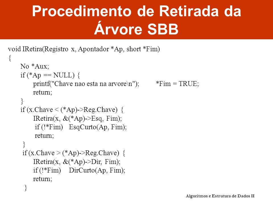 Algoritmos e Estrutura de Dados II Procedimento de Retirada da Árvore SBB void IRetira(Registro x, Apontador *Ap, short *Fim) { No *Aux; if (*Ap == NU