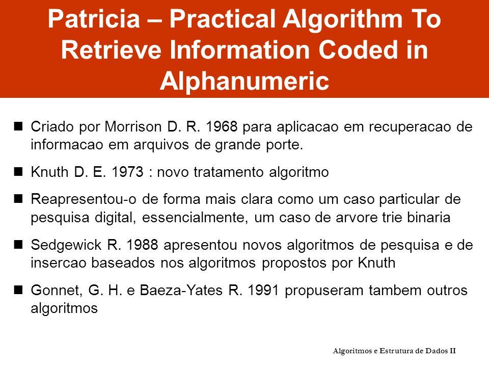 Patricia – Practical Algorithm To Retrieve Information Coded in Alphanumeric Criado por Morrison D. R. 1968 para aplicacao em recuperacao de informaca