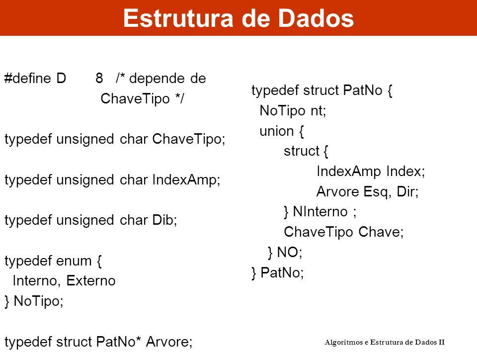 Estrutura de Dados Algoritmos e Estrutura de Dados II #define D 8 /* depende de ChaveTipo */ typedef unsigned char ChaveTipo; typedef unsigned char In