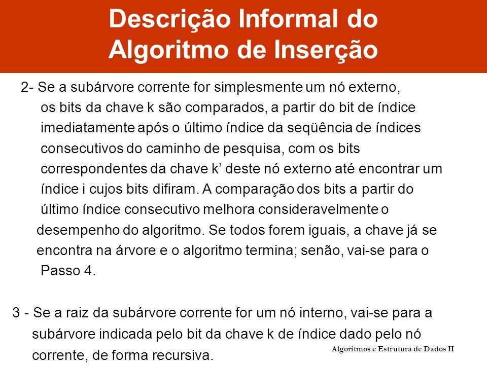 Descrição Informal do Algoritmo de Inserção 2- Se a subárvore corrente for simplesmente um nó externo, os bits da chave k são comparados, a partir do