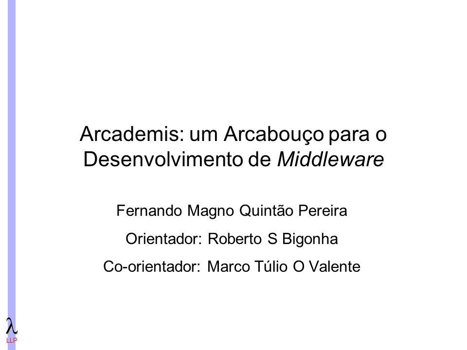 LLP Arcademis: um Arcabouço para o Desenvolvimento de Middleware Fernando Magno Quintão Pereira Orientador: Roberto S Bigonha Co-orientador: Marco Túlio O Valente