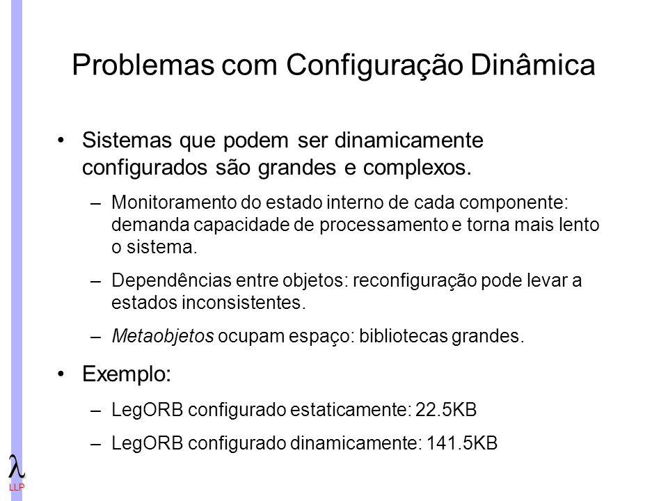 LLP Problemas com Configuração Dinâmica Sistemas que podem ser dinamicamente configurados são grandes e complexos.