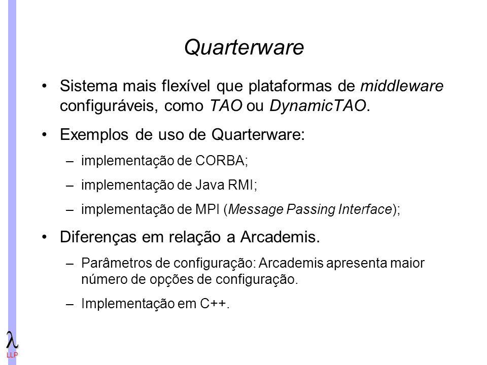 LLP Quarterware Sistema mais flexível que plataformas de middleware configuráveis, como TAO ou DynamicTAO.