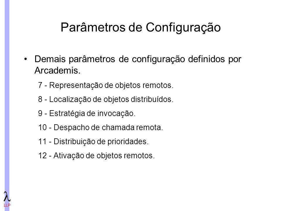 LLP Parâmetros de Configuração Demais parâmetros de configuração definidos por Arcademis.