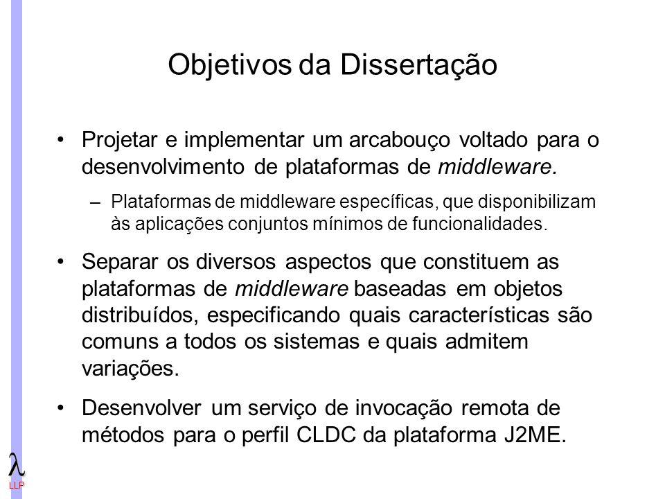 LLP Objetivos da Dissertação Projetar e implementar um arcabouço voltado para o desenvolvimento de plataformas de middleware.