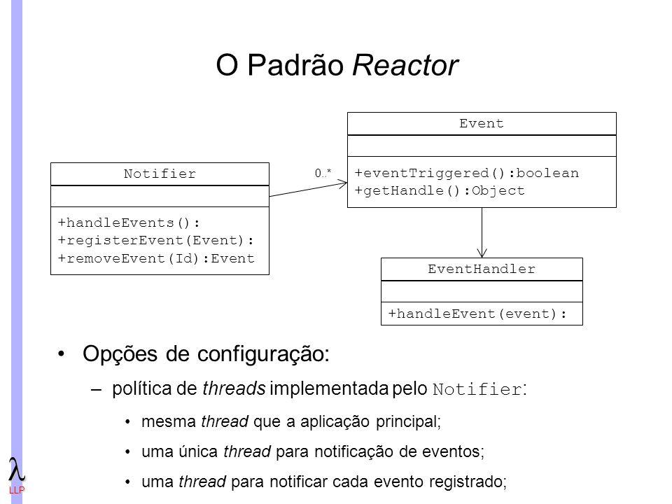LLP O Padrão Reactor Notifier +handleEvents(): +registerEvent(Event): +removeEvent(Id):Event EventHandler +handleEvent(event): Event +eventTriggered():boolean +getHandle():Object 0..* Opções de configuração: –política de threads implementada pelo Notifier : mesma thread que a aplicação principal; uma única thread para notificação de eventos; uma thread para notificar cada evento registrado;