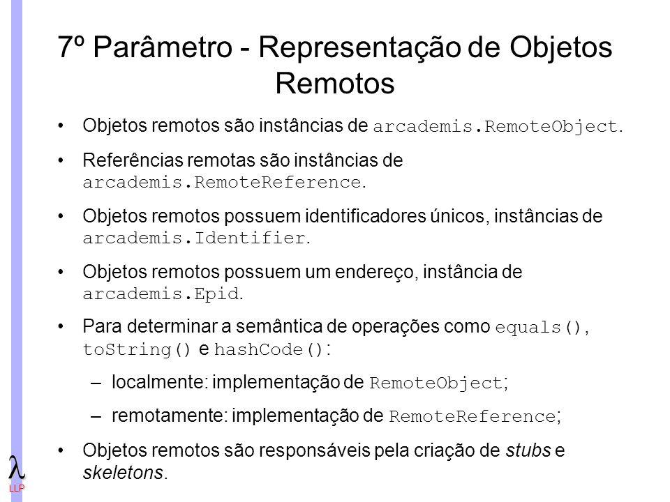 LLP 7º Parâmetro - Representação de Objetos Remotos Objetos remotos são instâncias de arcademis.RemoteObject.