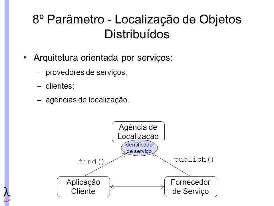 LLP 8º Parâmetro - Localização de Objetos Distribuídos Arquitetura orientada por serviços: –provedores de serviços; –clientes; –agências de localização.