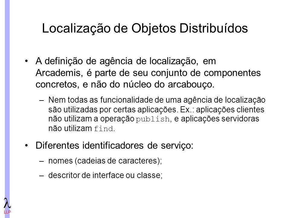 LLP Localização de Objetos Distribuídos A definição de agência de localização, em Arcademis, é parte de seu conjunto de componentes concretos, e não do núcleo do arcabouço.