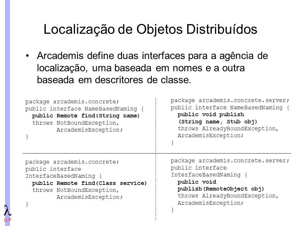 LLP Localização de Objetos Distribuídos Arcademis define duas interfaces para a agência de localização, uma baseada em nomes e a outra baseada em descritores de classe.