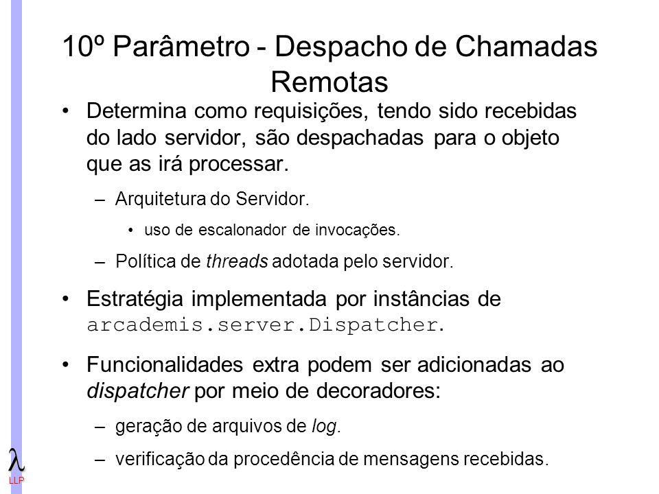 LLP 10º Parâmetro - Despacho de Chamadas Remotas Determina como requisições, tendo sido recebidas do lado servidor, são despachadas para o objeto que as irá processar.