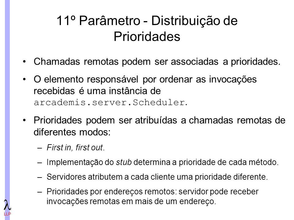 LLP 11º Parâmetro - Distribuição de Prioridades Chamadas remotas podem ser associadas a prioridades.