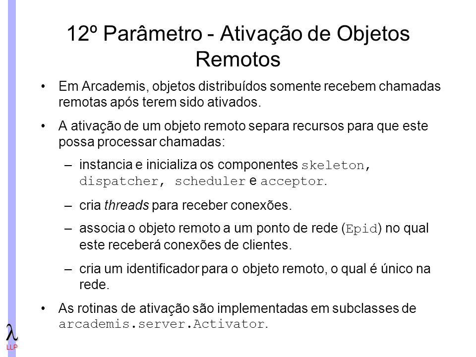 LLP 12º Parâmetro - Ativação de Objetos Remotos Em Arcademis, objetos distribuídos somente recebem chamadas remotas após terem sido ativados.
