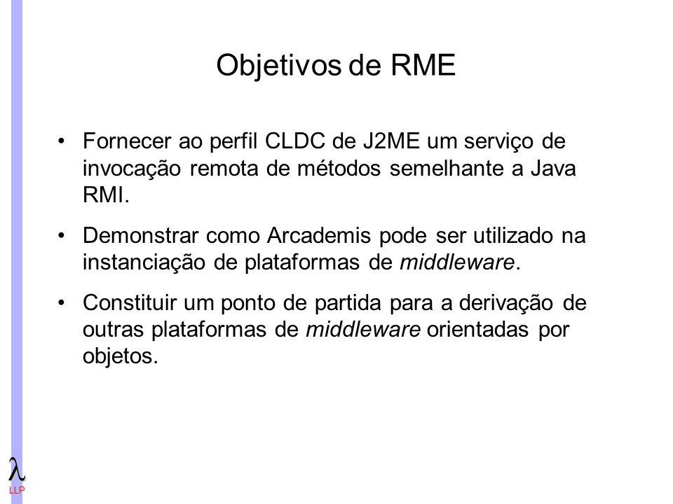 LLP Objetivos de RME Fornecer ao perfil CLDC de J2ME um serviço de invocação remota de métodos semelhante a Java RMI.