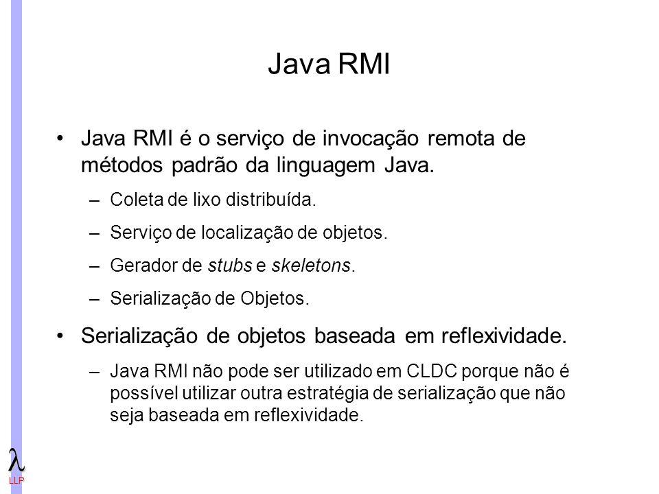 LLP Java RMI Java RMI é o serviço de invocação remota de métodos padrão da linguagem Java.