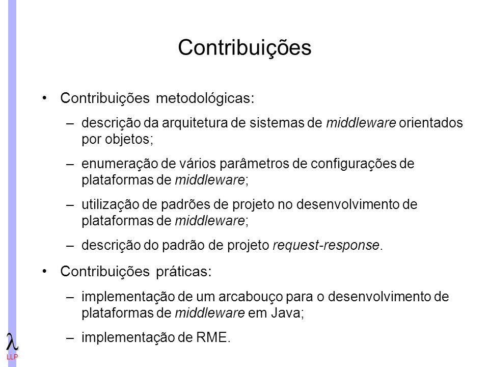 LLP Contribuições Contribuições metodológicas: –descrição da arquitetura de sistemas de middleware orientados por objetos; –enumeração de vários parâmetros de configurações de plataformas de middleware; –utilização de padrões de projeto no desenvolvimento de plataformas de middleware; –descrição do padrão de projeto request-response.