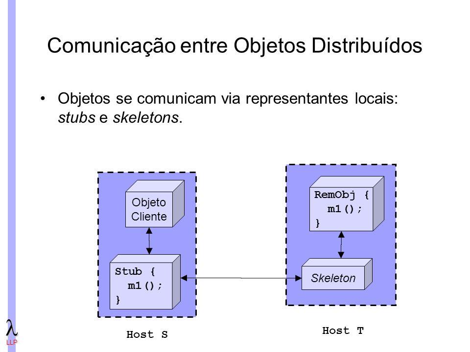 LLP Comunicação entre Objetos Distribuídos Objetos se comunicam via representantes locais: stubs e skeletons.