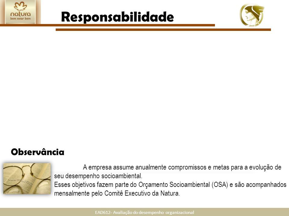 EAD612- Avaliação do desempenho organizacional Transparência Responsabilidade A Natura mostra realizar suas atividades com ampla tranparência. Divulga