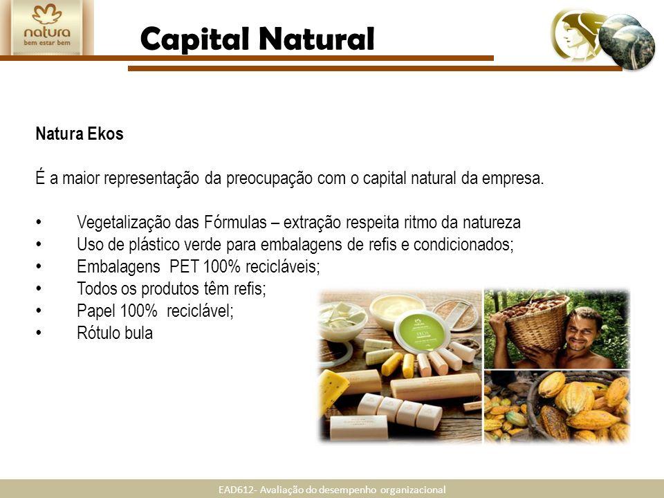EAD612- Avaliação do desempenho organizacional Natura Ekos É a maior representação da preocupação com o capital natural da empresa. Vegetalização das