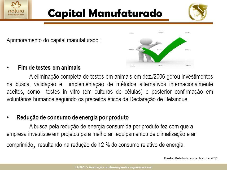 EAD612- Avaliação do desempenho organizacional Fonte: Relatório anual Natura 2011 Capital Manufaturado Aprimoramento do capital manufaturado : Fim de