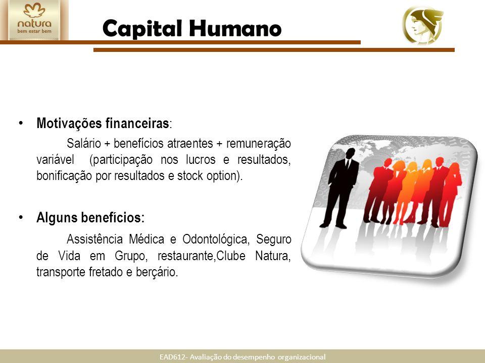 EAD612- Avaliação do desempenho organizacional Motivações financeiras : Salário + benefícios atraentes + remuneração variável (participação nos lucros