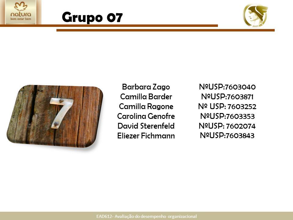 EAD612- Avaliação do desempenho organizacional Grupo 07 Barbara Zago Camilla Barder Camilla Ragone Carolina Genofre David Sterenfeld Eliezer Fichmann