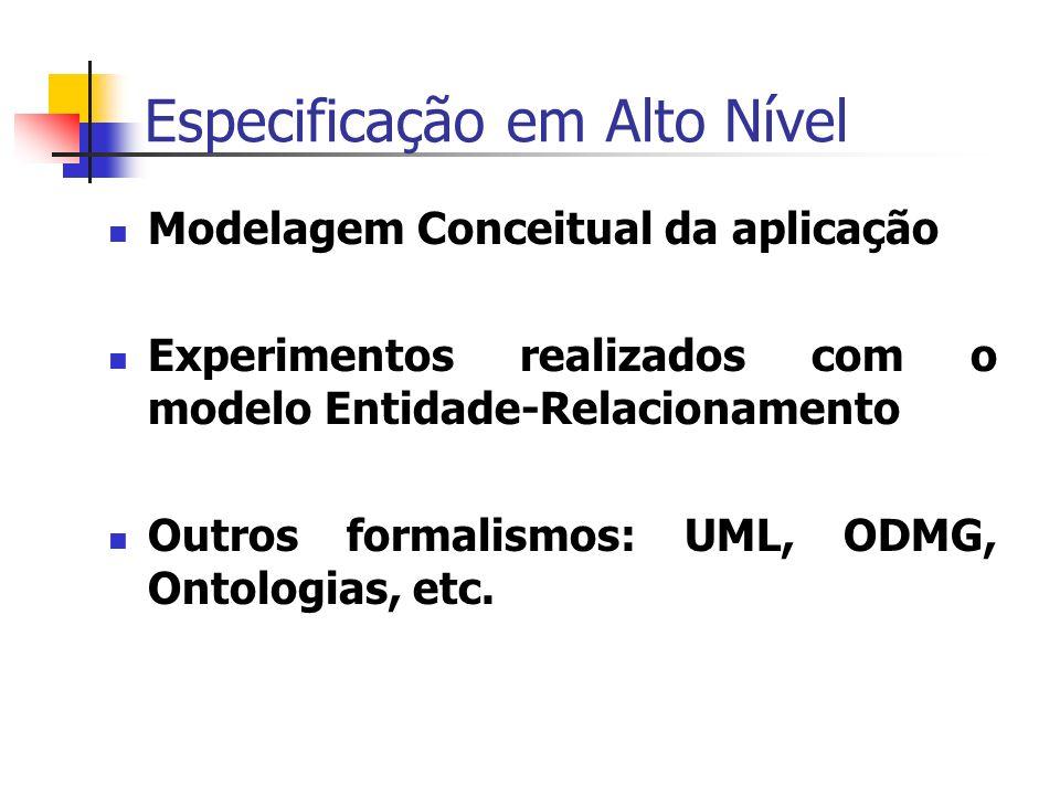 Especificação em Alto Nível Modelagem Conceitual da aplicação Experimentos realizados com o modelo Entidade-Relacionamento Outros formalismos: UML, ODMG, Ontologias, etc.