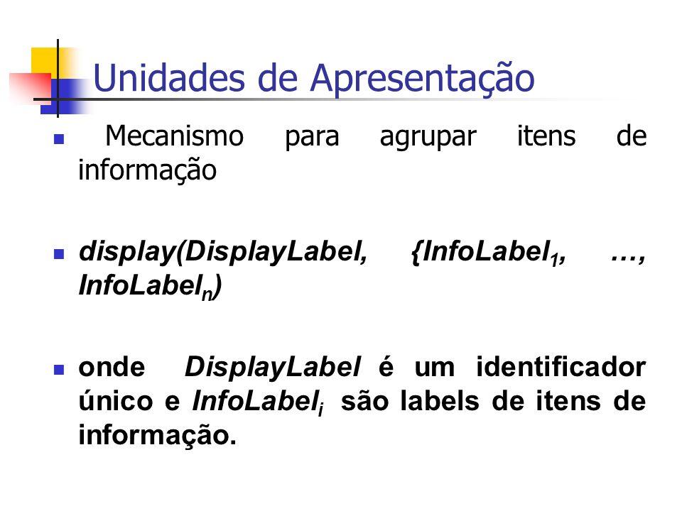 Unidades de Apresentação Mecanismo para agrupar itens de informação display(DisplayLabel, {InfoLabel 1, …, InfoLabel n ) onde DisplayLabel é um identificador único e InfoLabel i são labels de itens de informação.