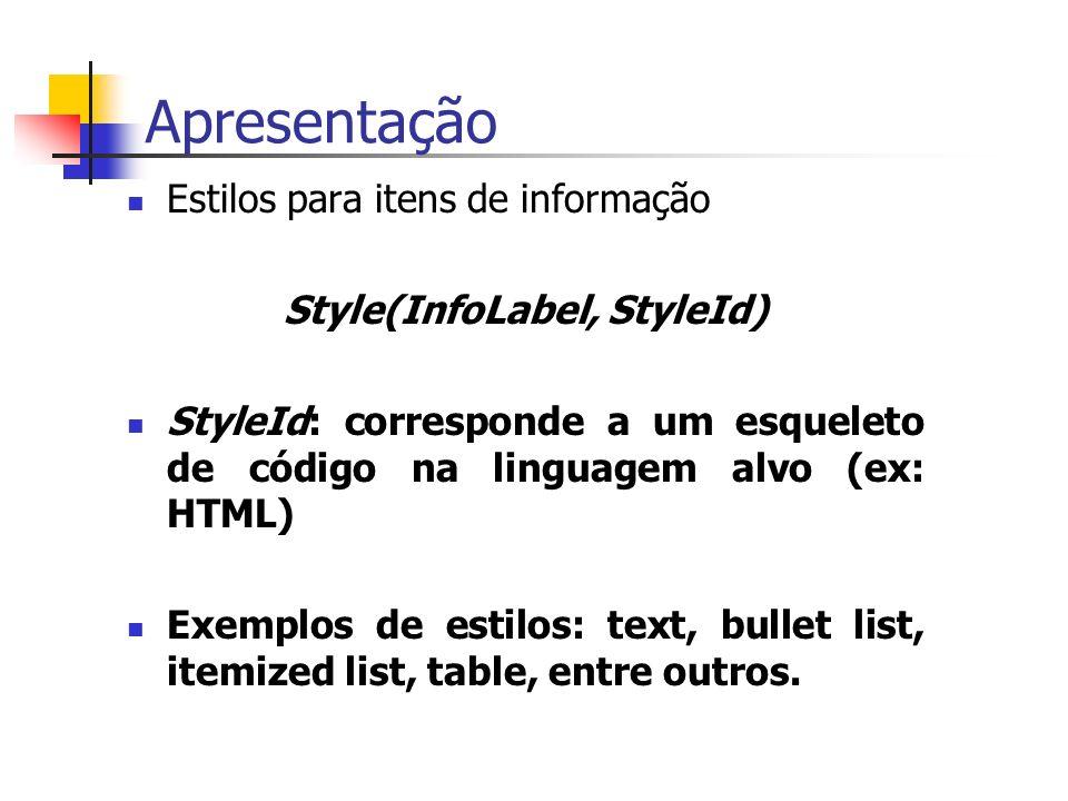 Apresentação Estilos para itens de informação Style(InfoLabel, StyleId) StyleId: corresponde a um esqueleto de código na linguagem alvo (ex: HTML) Exemplos de estilos: text, bullet list, itemized list, table, entre outros.