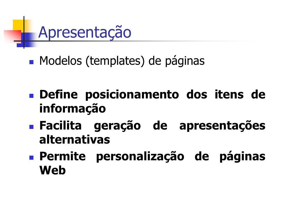 Modelos (templates) de páginas Define posicionamento dos itens de informação Facilita geração de apresentações alternativas Permite personalização de páginas Web