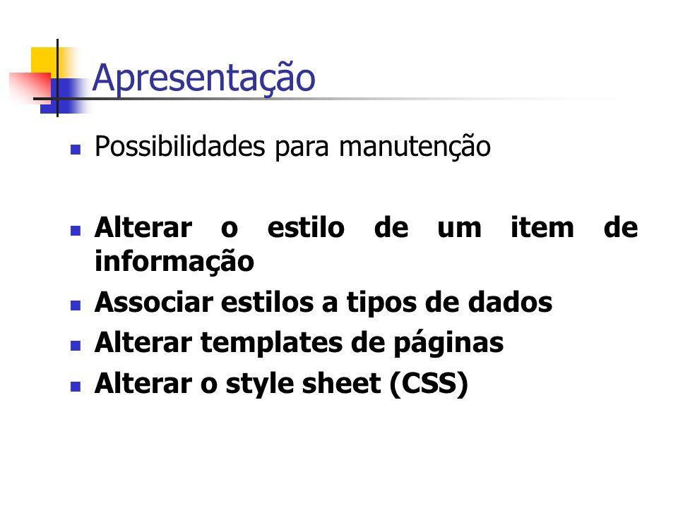 Apresentação Possibilidades para manutenção Alterar o estilo de um item de informação Associar estilos a tipos de dados Alterar templates de páginas Alterar o style sheet (CSS)