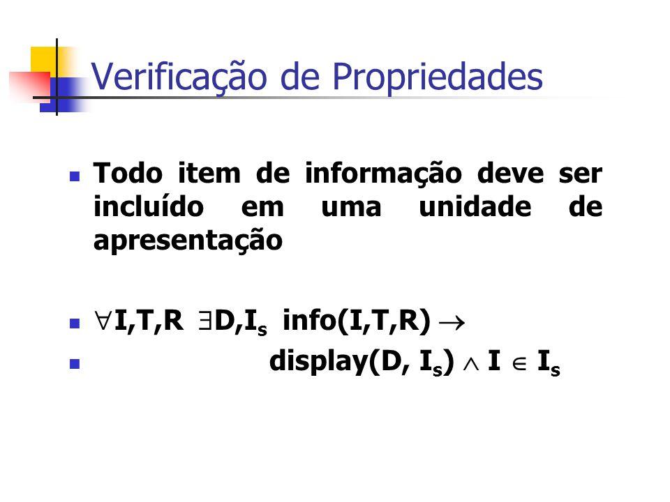 Verificação de Propriedades Todo item de informação deve ser incluído em uma unidade de apresentação I,T,R D,I s info(I,T,R) display(D, I s ) I I s