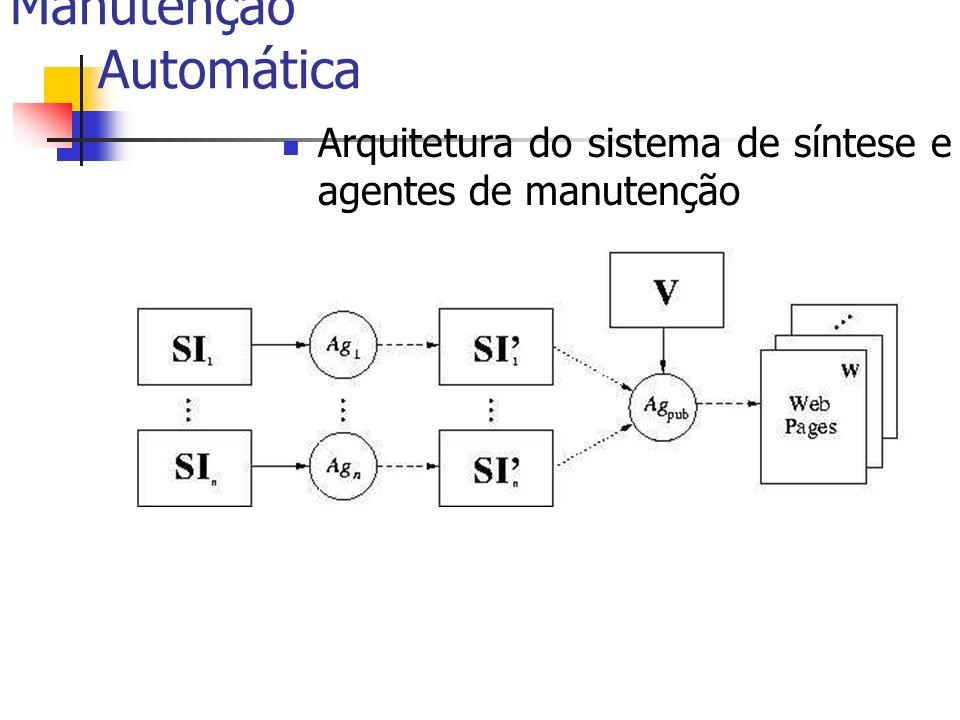 Manutenção Automática Arquitetura do sistema de síntese e agentes de manutenção