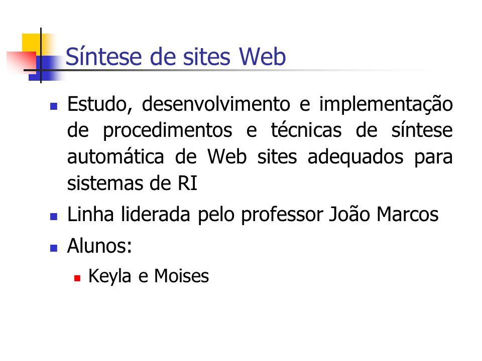Síntese de sites Web Estudo, desenvolvimento e implementação de procedimentos e técnicas de síntese automática de Web sites adequados para sistemas de RI Linha liderada pelo professor João Marcos Alunos: Keyla e Moises
