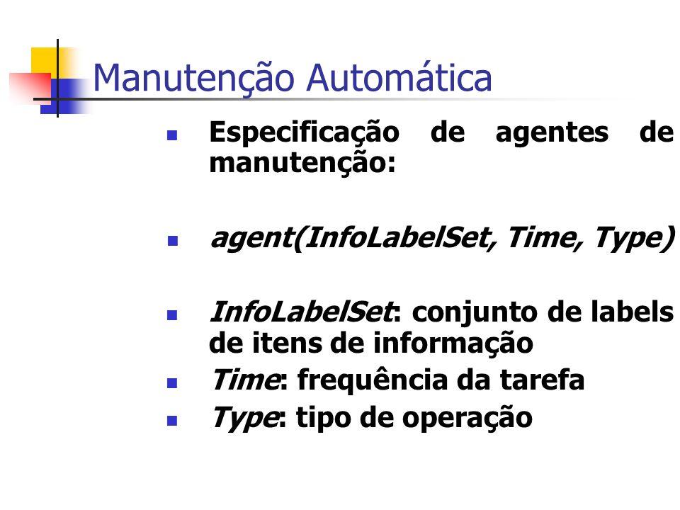 Manutenção Automática Especificação de agentes de manutenção: agent(InfoLabelSet, Time, Type) InfoLabelSet: conjunto de labels de itens de informação Time: frequência da tarefa Type: tipo de operação