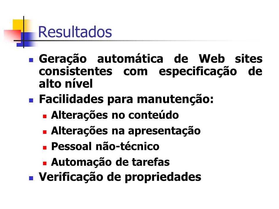 Resultados Geração automática de Web sites consistentes com especificação de alto nível Facilidades para manutenção: Alterações no conteúdo Alterações na apresentação Pessoal não-técnico Automação de tarefas Verificação de propriedades