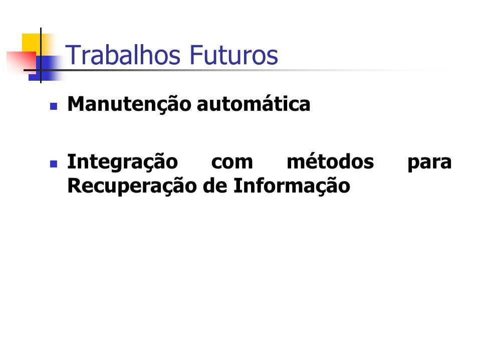 Trabalhos Futuros Manutenção automática Integração com métodos para Recuperação de Informação