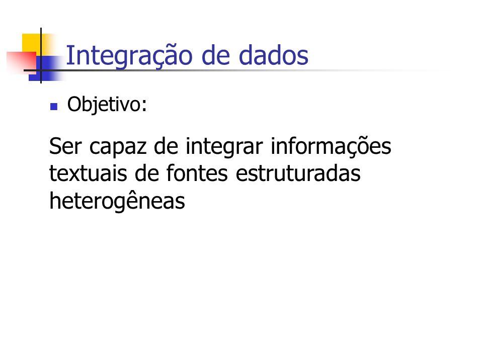 Integração de dados Objetivo: Ser capaz de integrar informações textuais de fontes estruturadas heterogêneas