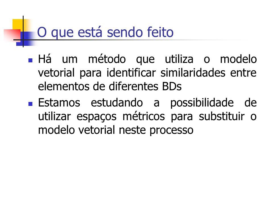 O que está sendo feito Há um método que utiliza o modelo vetorial para identificar similaridades entre elementos de diferentes BDs Estamos estudando a possibilidade de utilizar espaços métricos para substituir o modelo vetorial neste processo