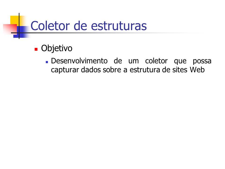 Coletor de estruturas Objetivo Desenvolvimento de um coletor que possa capturar dados sobre a estrutura de sites Web