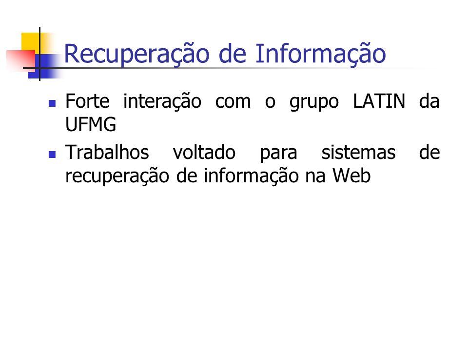 Recuperação de Informação Forte interação com o grupo LATIN da UFMG Trabalhos voltado para sistemas de recuperação de informação na Web
