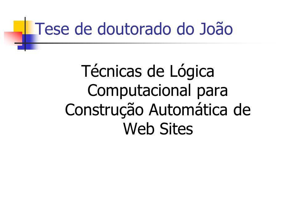 Síntese de Web Sites Geração automática de Web sites Objetivos: Facilitar manutenção; Reutilização de especificações; Produção de Web sites consistentes Exemplo: SSP Group Web Site http://www.dai.ed.ac.uk/groups/ssp/