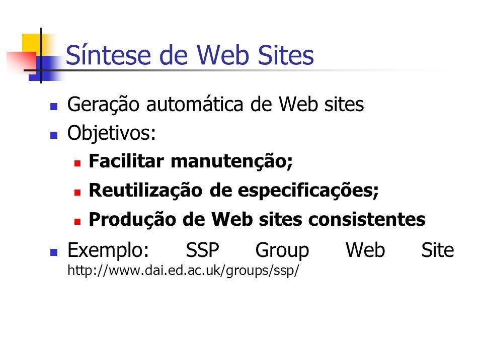Síntese de Web Sites Abordagens oriundas de três áreas: Banco de Dados: Araneus, Strudel, WebML.