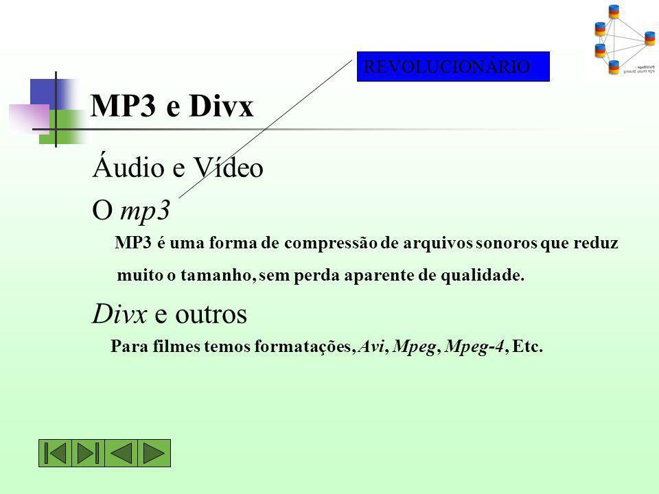 MP3 e Divx Áudio e Vídeo O mp3 MP3 é uma forma de compressão de arquivos sonoros que reduz muito o tamanho, sem perda aparente de qualidade. Divx e ou