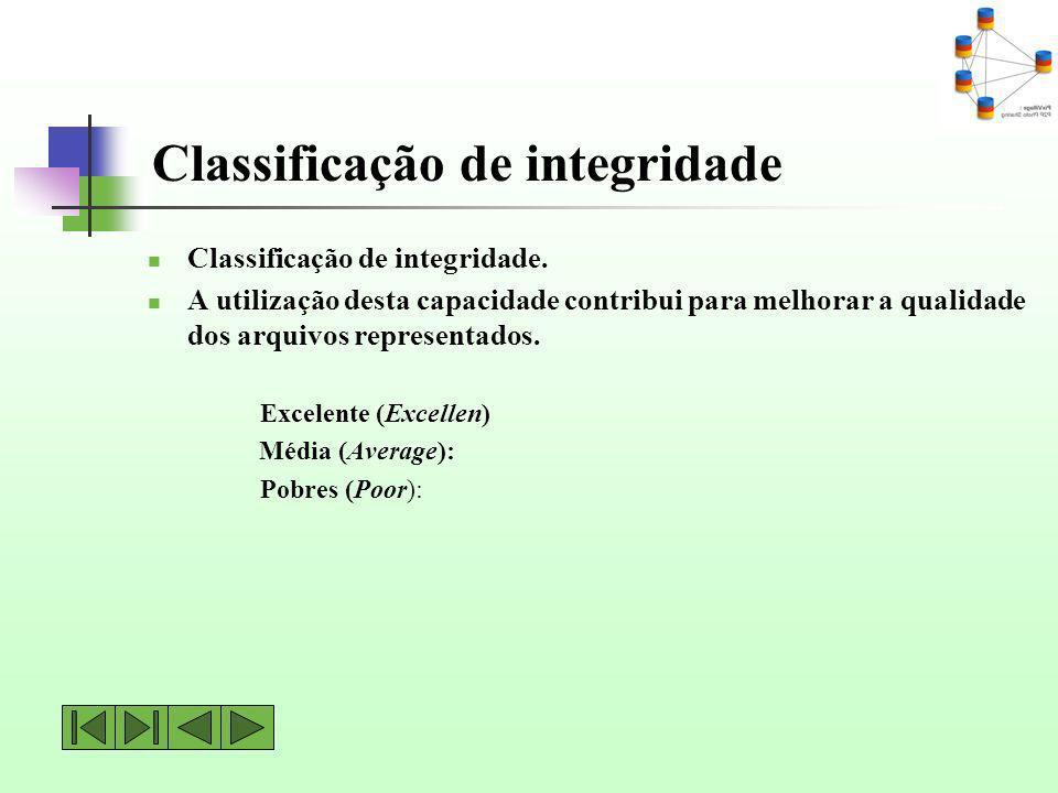 Classificação de integridade. A utilização desta capacidade contribui para melhorar a qualidade dos arquivos representados. Excelente (Excellen) Média
