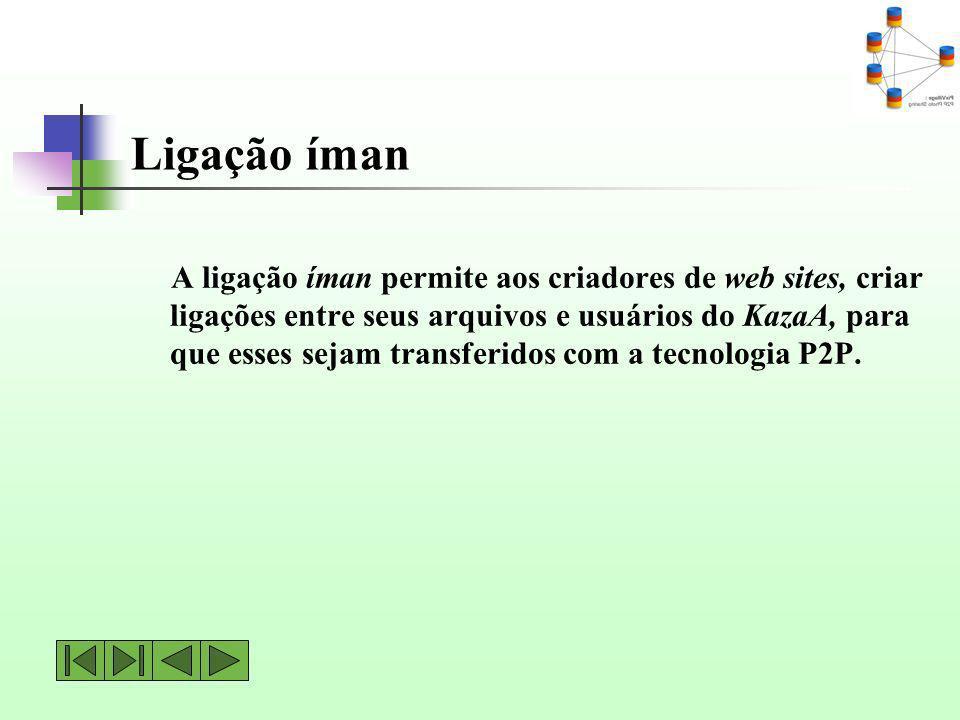 Ligação íman A ligação íman permite aos criadores de web sites, criar ligações entre seus arquivos e usuários do KazaA, para que esses sejam transferi