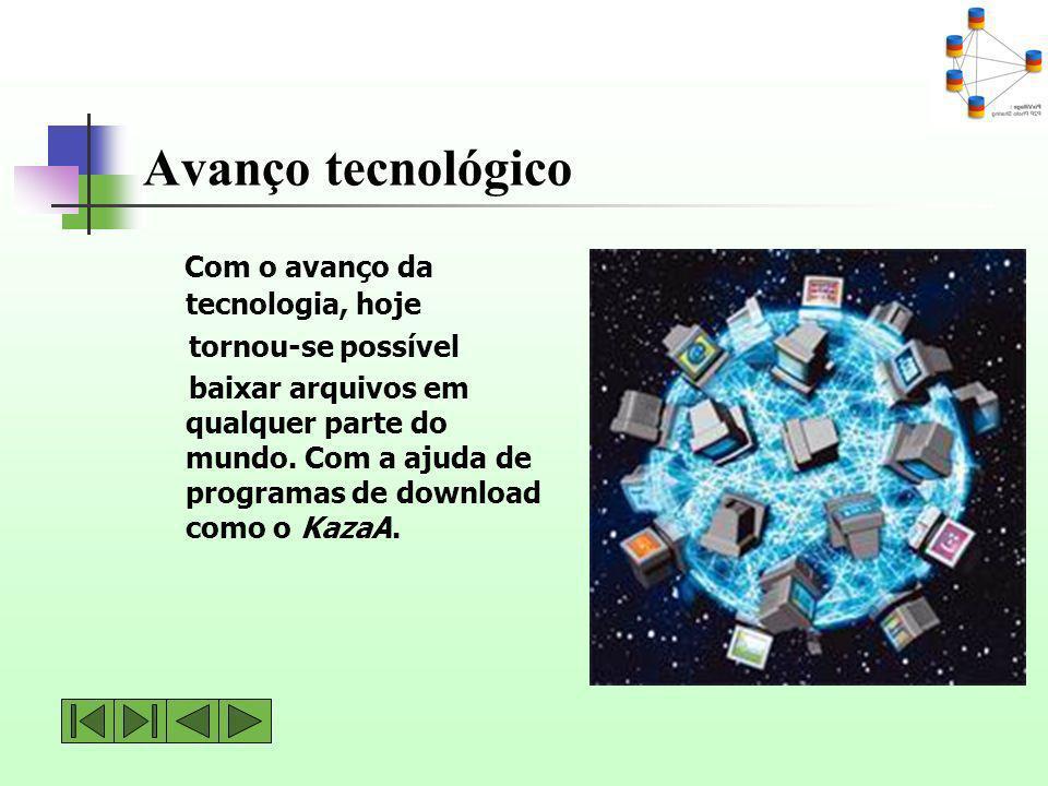 Avanço tecnológico Com o avanço da tecnologia, hoje tornou-se possível baixar arquivos em qualquer parte do mundo. Com a ajuda de programas de downloa