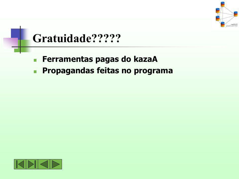 Gratuidade????? Ferramentas pagas do kazaA Propagandas feitas no programa