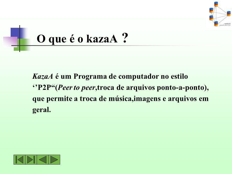 O que é o kazaA ? KazaA é um Programa de computador no estilo P2P(Peer to peer,troca de arquivos ponto-a-ponto), que permite a troca de música,imagens
